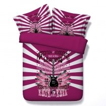 Trendy Girls Guitar Print Music Note Hippie Style Twin, Full, Queen, King Size Bedding Sets