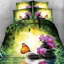 Green Purple and Orange Butterfly and Floral Print Beautiful Nice Country Chic Exotic Twin, Full, Queen, King Size Bedding Sets