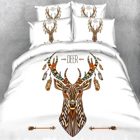 Brown Orange Blue and White Deer Wildlife Print Rustic Moose Crossing Woodland Animal Themed Twin, Full, Queen, King Size Bedding Sets