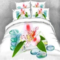 Oriental Style Emerald Green Turquoise White and Red Asian Lily Print Elegant Feminine Twin, Full, Queen, King Size Bedding Sets