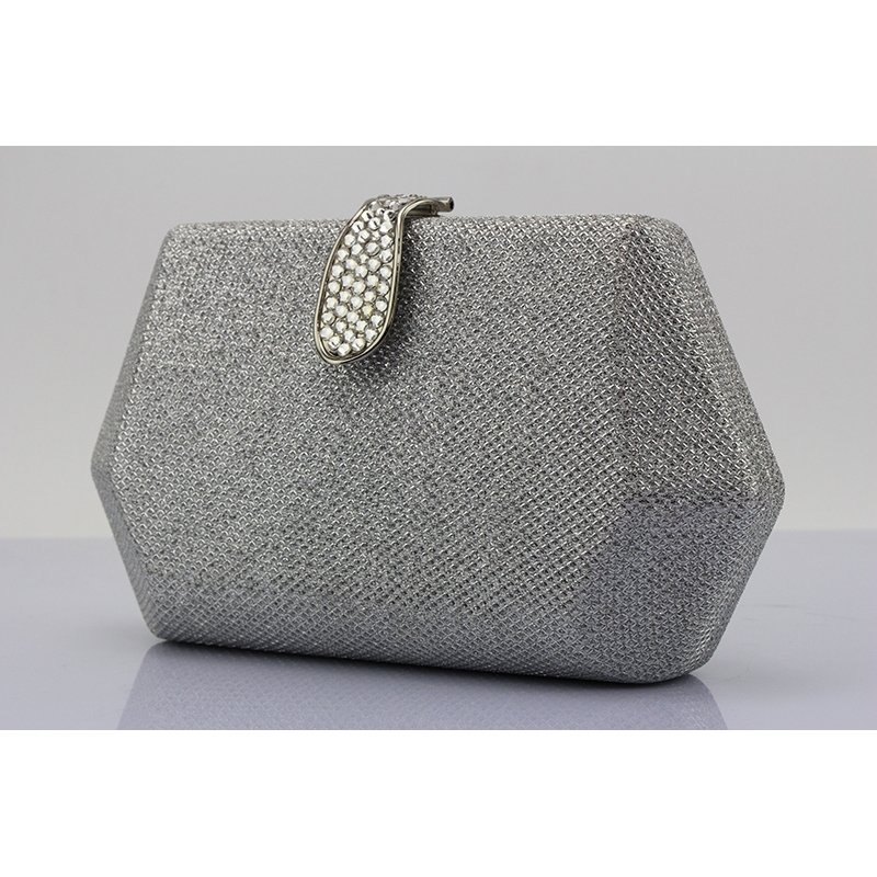 Vintage Silver Gray Bling Rhinestone Women Mini Evening Clutch Boutique Magnetic Closure Sequin Chain Party Wedding Crossbody Shoulder Bag