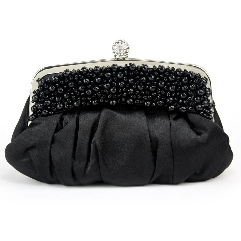 Soft Black Ruffle Silk Satin Pearl Beaded Women Small Evening Clutch Hipster Vintage Magnetic Closure Chain Crossbody Shoulder Bag