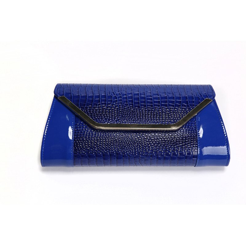 Sparkle Royal Blue Patent Leather Women Small Flap Envelope Evening Clutch Magnetic Closure Embossed Crocodile Chain Crossbody Shoulder Bag