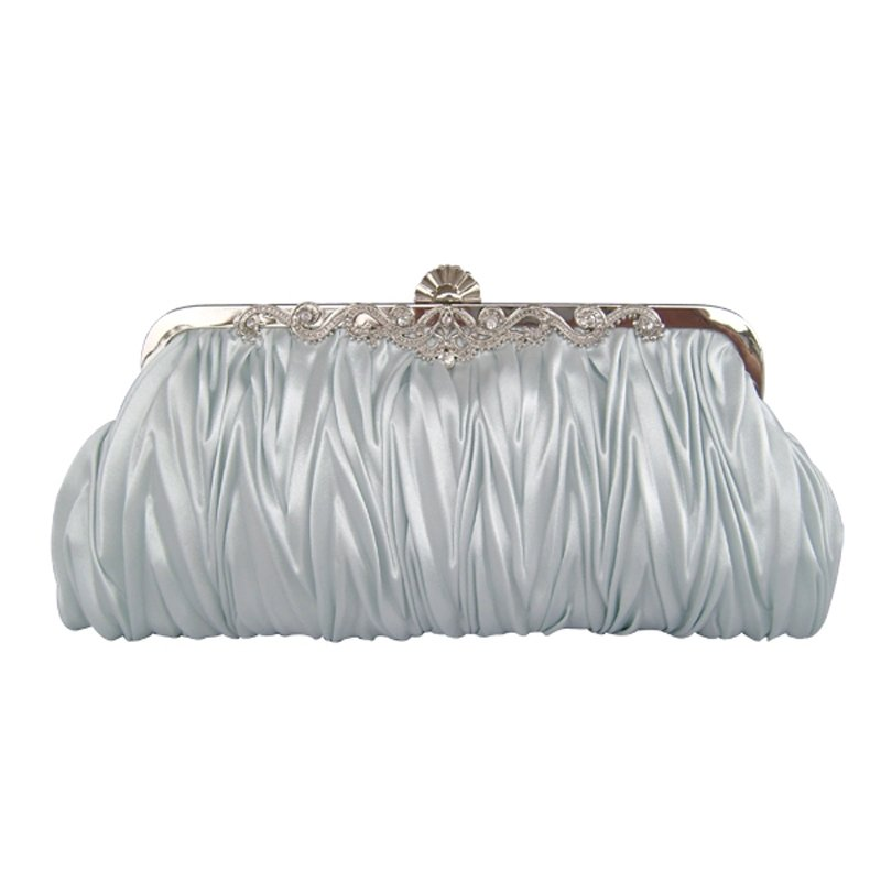 Silver Gray Ruffle Silk Satin Lady Small Hard Shell Evening Clutch Bling Rhinestone Magnetic Closure Chain Crossbody Shoulder Bag