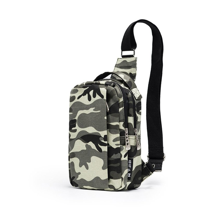 Black Beige and Gray Canvas Men Small Sling Backpack Military Camouflage Print Casual Travel Hiking Cycling Crossbody Shoulder Chest Bag