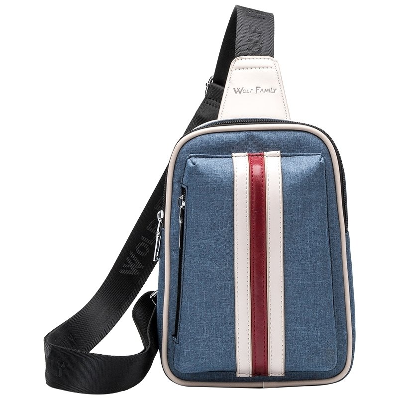 Slate Blue Polyamide Boys Crossbody Shoulder Chest Bag Stylish Vertical Stripe Sewing Pattern Casual Travel Hiking Sling Backpack