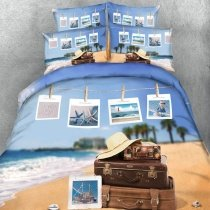 Blue White and Brown Ocean Beach Palm Tree Coastal Life Starfish Seashell Print Holiday Themed Twin, Full, Queen, King Size Bedding Sets