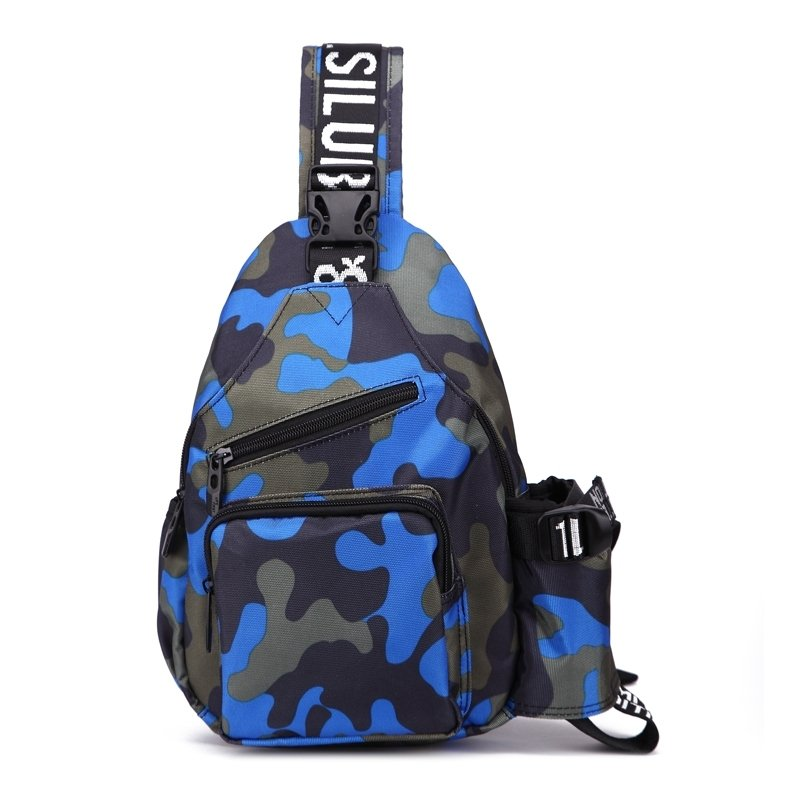 Taupe Gray Black Blue Oxford Boys Crossbody Shoulder Chest Bag Military Style Camouflage Print Small Casual Travel Sling Backpack