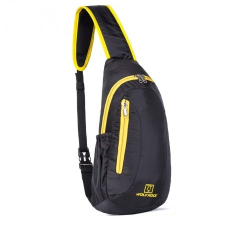 Black Nylon with Yellow Trim Men Crossbody Shoulder Chest Bag Hipster Monogrammed Print Casual Travel Hiking Cycling Sling Backpack