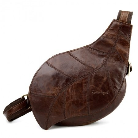 Chocolate Brown Distressed Waxed Genuine Cowhide Leather Sling Backpack Vintage Leaf-shaped Women Small Travel Crossbody Shoulder Chest Bag