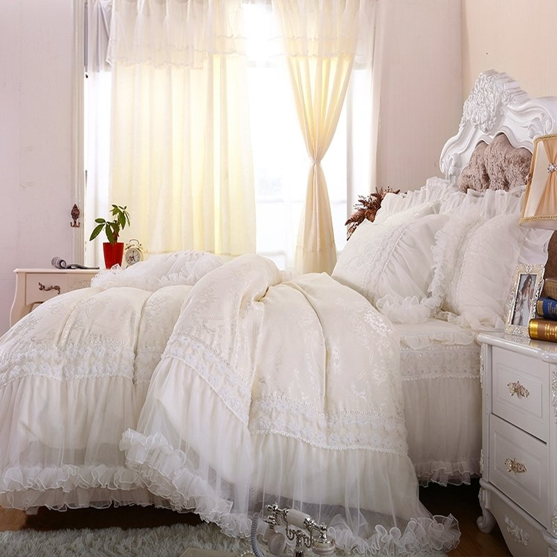Luxury Bridal Style Victorian Lace Design Full Queen Size