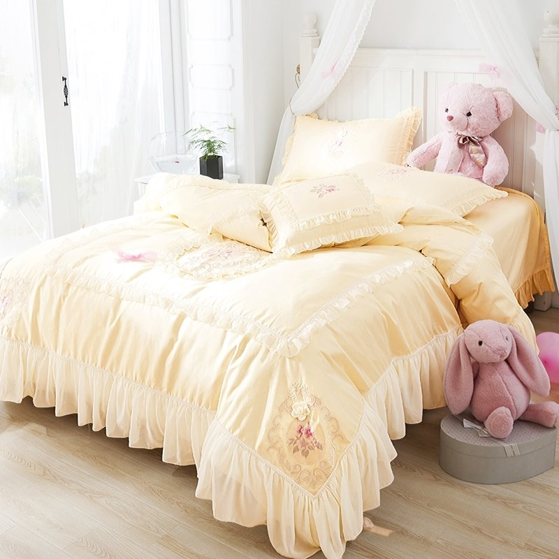 Elegant Bright Yellow Applique Floral Ruffle Simply Shabby Chic Feminine Luxury Embroidered Full, Queen Size Bedding Sets