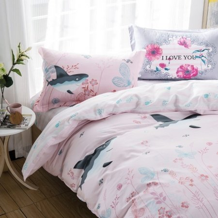 Pastel Blush Pink Red and Blue Country Floral Shark Butterfly Tropical Fish Print Girly Girls Twin, Full Size Bedding Sets