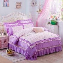 Sophisticated Elegant Purple and Beige Polka Dot Print Vintage Romantic Drop Ruffle Girls Princess Full Size Bedding Sets