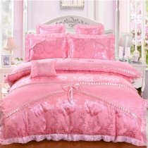 Coral Pink Rose Vintage Shabby Chic Lace Ruffle Girls Princess Embroidered Luxury Jacquard Satin Full, Queen Size Bedding Sets