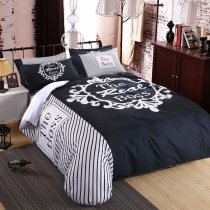 Black White and Dark Blue Rosette Pattern Monogrammed Diagonal Stripe Print Personalized Full, Queen Size Bedding Sets