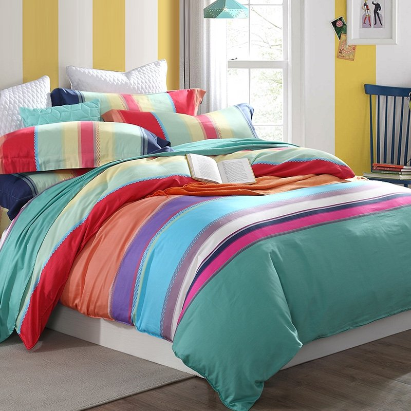 Pastel Teal Green Aqua Red Purple and Coral Orange Rainbow Stripe Print  Bright Colorful Full, Queen Size Bedding Sets