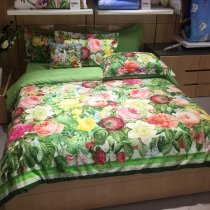Bright Colorful Lime Green Red Pink Yellow and White Tropical Hawaiian Rose Flower Print Garden Images Full, Queen Size Bedding Sets