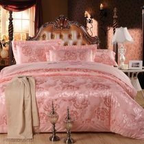 Sophisticated Rose Gold Beautiful Floral Pattern Asian Inspired Luxurious Jacquard Satin Full, Queen Size Bedding Sets