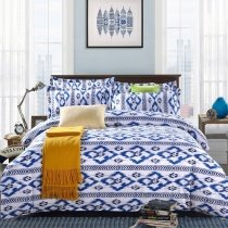 Trendy Blue and White Aztec Stripe Trippy Bohemian Style Abstract Hipster Twin, Full Size Bedding Sets