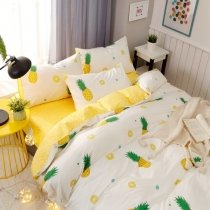 Funky Green White and Yellow Pineapple Print Tropical Country Chic Vogue Style Twin, Full, Queen Size Bedding Sets