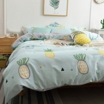 Kids Magic Mint Yellow and White Pineapple Print Stylish Cartoon Themed Cute Style Twin, Full, Queen Size Bedding Sets