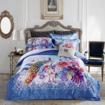 Royal Blue Purple and Pink Bright Colorful Peacock and Flower Print Southwestern Luxury Egyptian Cotton Full, Queen Size Bedding Sets