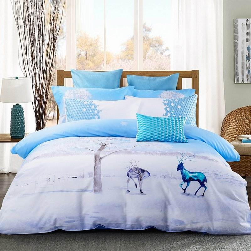 ice blue and white animal themed deer print snowflake country chic twin full queen size. Black Bedroom Furniture Sets. Home Design Ideas