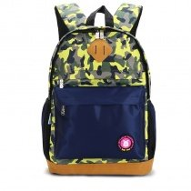 Dark Blue Yellow Green Orange and Gray Nylon Boys Pupil School Book Bag Military Camouflage Print Campus Backpack