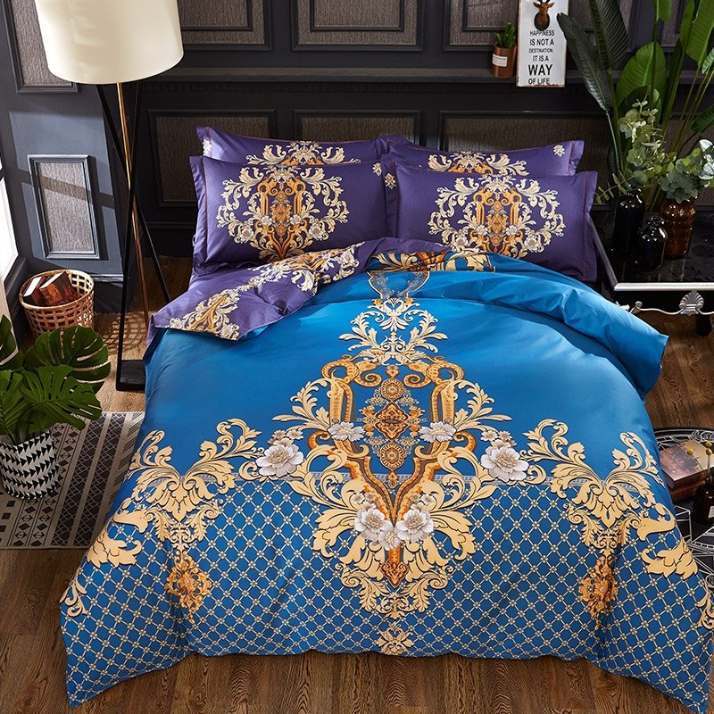 luxury royal blue and gold victorian gothic pattern bohemian chic royal style full queen size. Black Bedroom Furniture Sets. Home Design Ideas