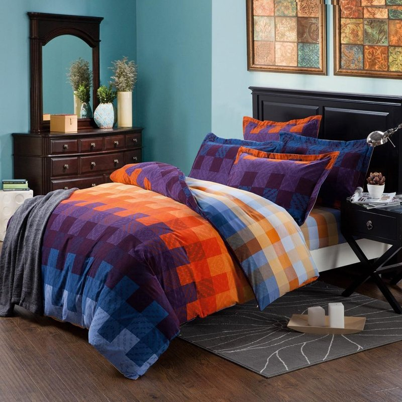 Royal Blue Purple And Orange Tartan Plaid Full Queen Size