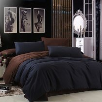 Dark Blue and Chocolate Brown Luxury Solid Pure Color Simply Shabby Chic Full, Queen Size Bedding Sets