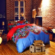 Red and Blue Moroccan Tribal Print Vintage Bohemian Style 100% Egyptian Cotton Full, Queen Size Bedding Sets