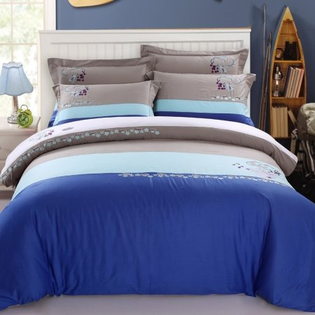 Blue and Grey Modern Simply Chic Wide Stripes Kids and Teen 100% Cotton Full, Queen Size Bedding Duvet Cover Sets