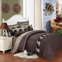 Brown Western Vogue Retro Style Stripe Print Boys 100% Cotton Full, Queen Size Bedding Duvet Cover Sets