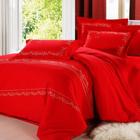 Solid Red Romantic Warm Traditional Modern Chic 100% Cotton Full, Queen Size Bedding Duvet Cover Sets