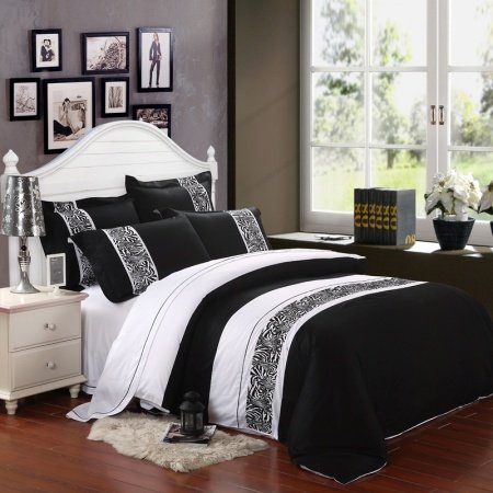 Black and White 5 Star Hotel Style Wide Stripes and Animal Zebra Print 100% Cotton Full, Queen Size Bedding Duvet Cover Sets