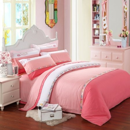 Pink and White Cute Princess Themed Girls 100% Cotton Full, Queen Size Bedding Duvet Cover Sets