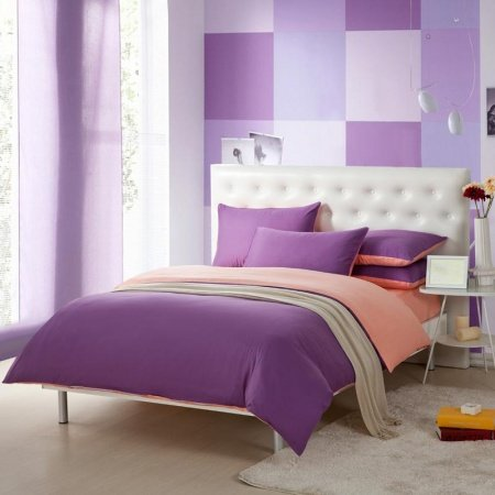 Cozy Purple and Pink Solid Pure Color Simply Chic Full, Queen Size Girls Bedroom 100% Cotton Bedding Sets