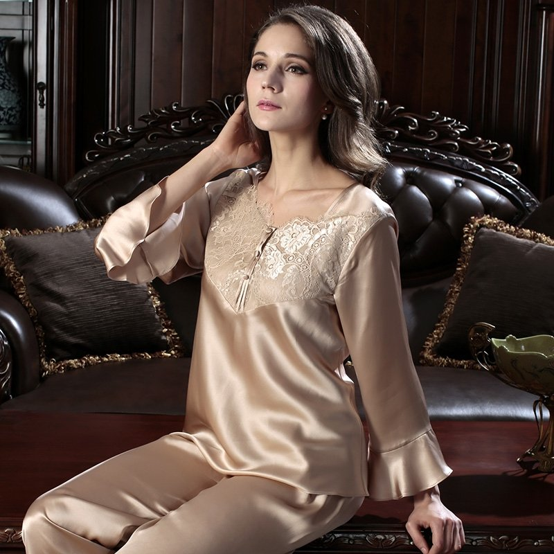 Lace Sexy Romantic Princess Gorgeous Crewneck 100% Silk Pajamas for Women