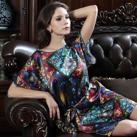 Colorful Bohemian Sexy Slips Luxury Crewneck Short Sleeve 100% Silk Pajamas