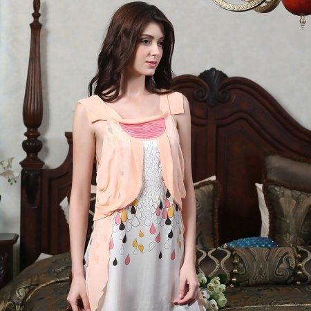 Light Orange and White Raindrops Print Crewneck Sleeveless Soft Silk Satin Pajamas