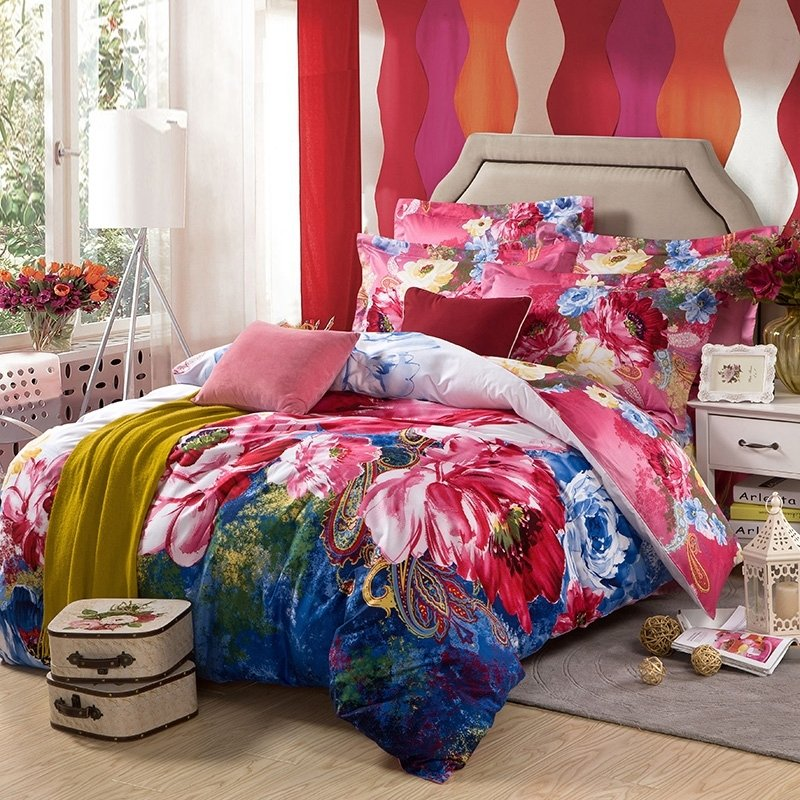 Colorful Tropical Floral and Paisley Park Watercolor Full, Queen Size 100% Cotton Bedding Sets