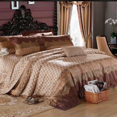 Brown and Chocolate City Chic Traditional Stripe Royal Retro Luxurious Sexy 100% Egyptian Cotton Full, Queen Size Bedding Sets