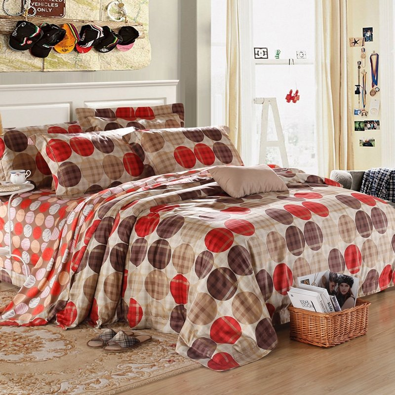 Red Brown and Beige Stripe Polka Dots Gorgeous Abstract Design 100% Egyptian Cotton Full, Queen Size Bedding Sets