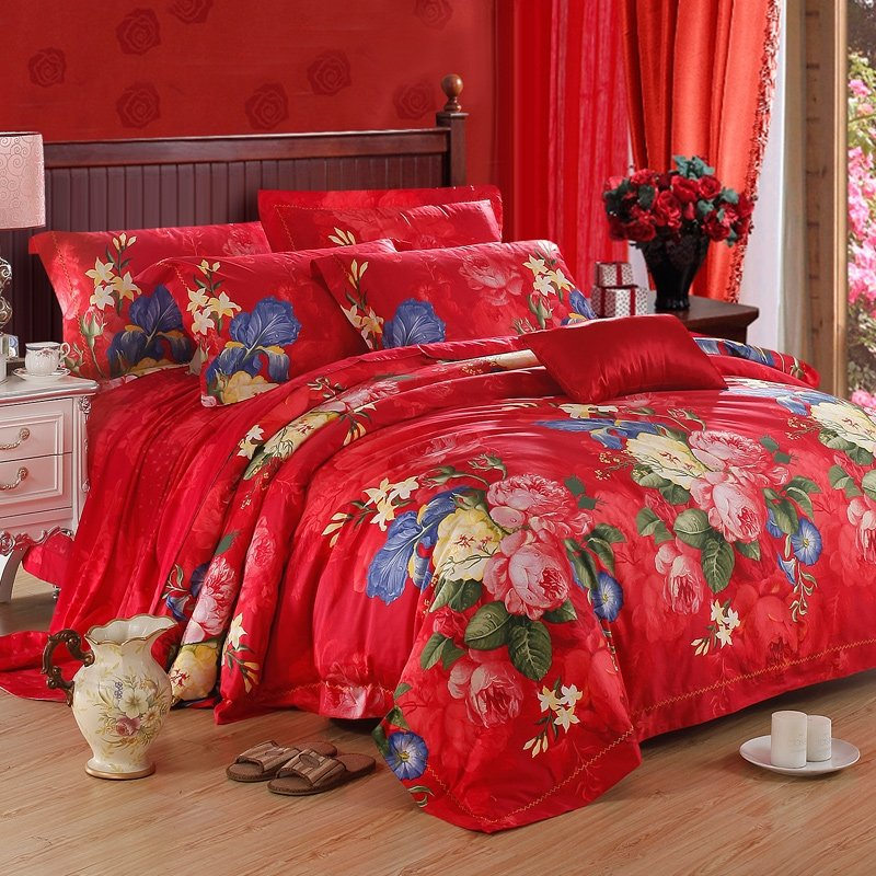 Red Green Blue and Pink Luxury Modern Chic Cute Alice Rose Asian Inspired Wedding Themed 100% Egyptian Cotton Bedding Sets