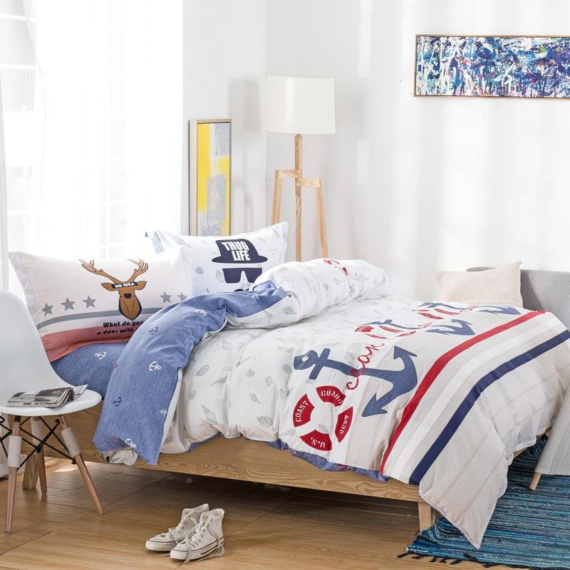 White Red and Blue Stripe and Polka Dots Print Nautical Themed Bedding Sets for Kids Boys|Girls