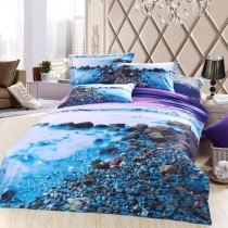 Peacock Blue Purple and Brown Benchland Beach Scene Stone Print Luxury Rustic Style Full Size 100% Cotton Bedding Sets