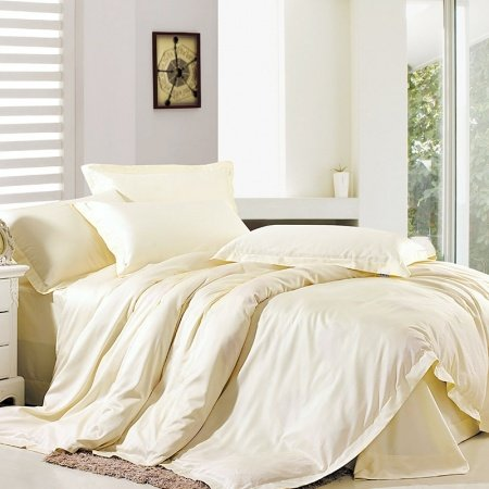 Luxury Beige Solid Color Modern Chic Simply and Sexy Organic 100% Egyptian Cotton for Girls Full, Queen Size Bedding Sets
