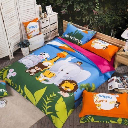 Forest Green and Blue Happiness Jungle Animal Zoo Party Chic and Cute Girls and Boys 100% Cotton Twin, Full Size Bedding Sets